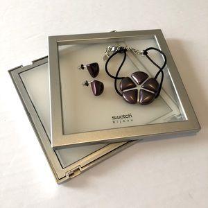 SWATCH purple Nib earrings and bracelet set EUC